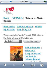 Free Library Mobile Catalog page
