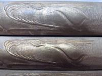 Spine detail, Herman Melville, The Whale. London: Richard Bentley, 1851. Collection of the Rosenbach, AL1 .M531mo 851. Fun fact: the whale stamped on the spine of this first edition is not a sperm whale like the infamous Moby Dick.