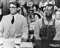 Actors Gregory Peck as Atticus Finch and Brock Peters as Tom Robinson in the film adaptation of <i>To Kill a Mockingbird</i>, 1962.
