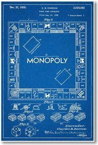 Charles B. Darrow's patent blueprint for Monopoly