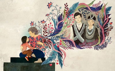 Interior page from The Most Beautiful Thing, illustrated by Khoa Le