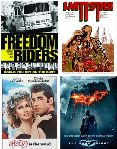 Freedom Riders (2010), Wattstax (1973), Grease (1978), and The Dark Knight (2008)