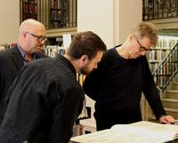Nels Cline with Ray Banas, Head of the Music Department, and Mark Christman of Ars Nova.