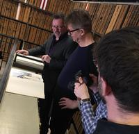 Nels Cline with Gary Galván, curator of the Fleisher Collection of Orchestral Music.
