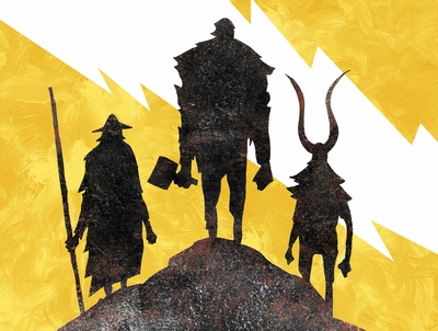 Norse mythological figures, illustrated by Jeffrey Alan Love