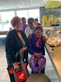 "Diane Poulson-Venn, left, a Neighborhood Ambassador, attended ""Coffee with Cops,"" hosted monthly by the 12th Police District at the neighborhood McDonald's. There, she talked with Rev. Paul Moore and Mrs. Featherstone, both long-time Southwest Philadelphia residents and activists."