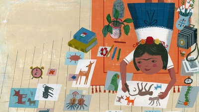 Frida Kahlo drawing as a child, from the book Frida Kahlo and Her Animalitos written by Monica Brown; illustrated by John Parra