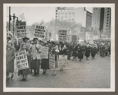 Philadelphia Transportation Company protest  photograph, 1943. From the Philadelphia Record Photograph Morgue [V07], Historical Society of Pennsylvania.
