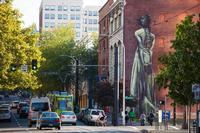 Downtown Portland mural, near Multnomah County Library.
