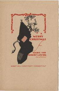 Ferdinand the Bull was Robert Lawson's most famous creation. In this Christmas card by Lawson, he peeks shyly out of a stocking.