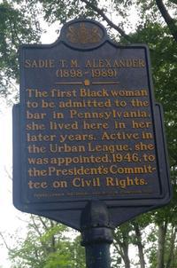 Sadie T. M. Alexander historical marker