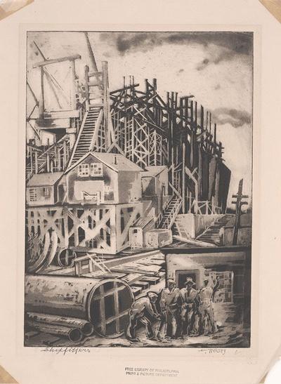 Shipfitters / Dox Thrash. Aquatint, c. 1941.