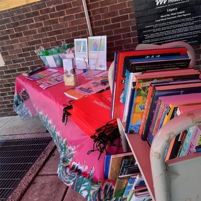 Summer Reading table setup outside Blackwell Regional Library