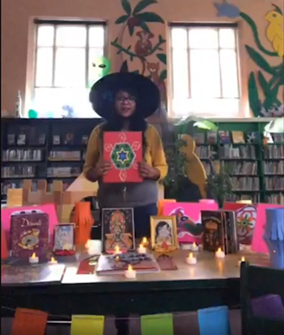 Miss Sunita talks about Halloween and Diwali during a storytime filmed at Donatucci Library.