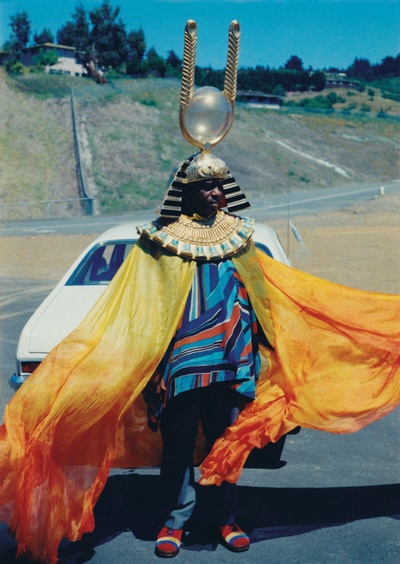 Sun Ra on the set of Space is the Place, the movie he co-wrote and starred in.