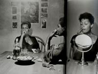 A page spread from the book that reproduces Carrie Mae Weems' Kitchen Table series.