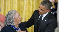Toni Morrison receiving the Presidental Medal of Freedom from President Barack Obama in 2012