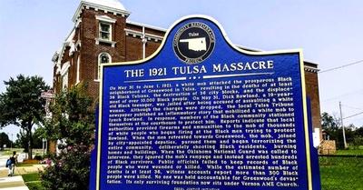 Tulsa Massacre marker, located at Vernon AME Church
