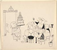 Preliminary art for <i>The Mellops Go Flying</i> by Tomi Ungerer, 1957.