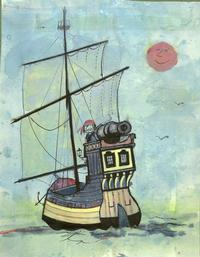 Illustration of a pirate ship at sea for <i>Alfaro the Wheeled Pirate</i> by Tomi Ungerer (unpublished), circa 1962-1968.