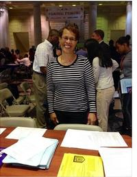 A Free Library volunteer helps a Parkway Central Library event run smoothly.