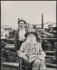 Whitman in Camden, New Jersey, near the end of his life, with his nurse Warren Fritzenger.