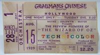 Wizard of Oz ticket stub from Grauman's Chinese Theatre premeire on August 15th, 1939, photo credit: ticketstubcollection.com